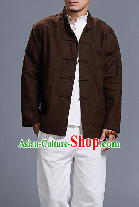 Traditional Top Chinese National Tang Suits Linen Costume, Martial Arts Kung Fu Front Opening Brown Coats, Kung fu Plate Buttons Jacket, Chinese Taichi Short Coats Wushu Clothing for Men