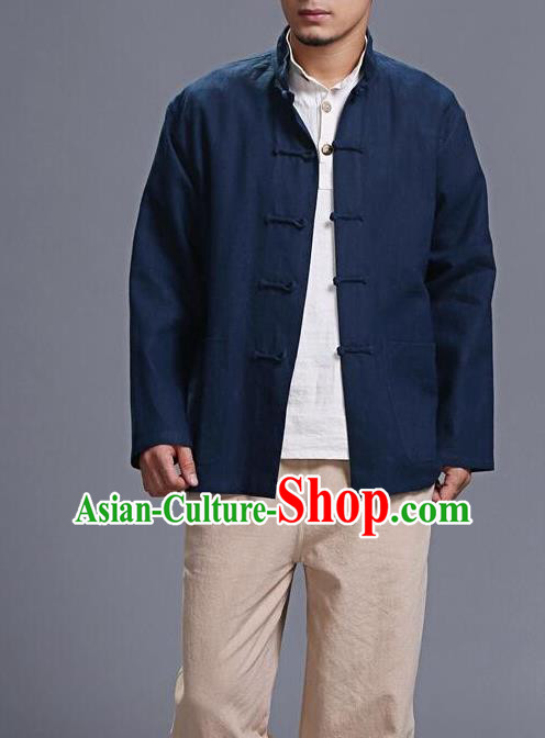 Traditional Top Chinese National Tang Suits Linen Costume, Martial Arts Kung Fu Front Opening Navy Coats, Kung fu Plate Buttons Jacket, Chinese Taichi Short Coats Wushu Clothing for Men