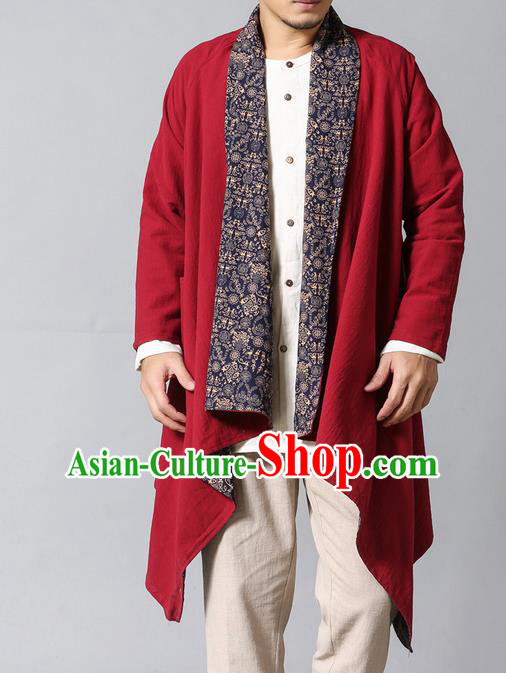Traditional Top Chinese National Tang Suits Linen Frock Costume, Martial Arts Kung Fu Dark Red Printing Cardigan, Kung fu Double Sided Unlined Upper Garment, Chinese Taichi Dust Coats Wushu Clothing for Men
