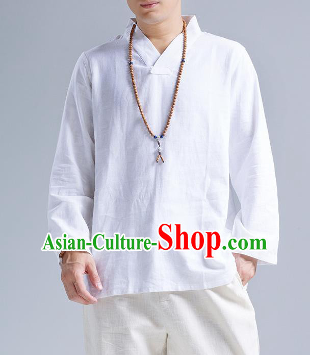 Traditional Top Chinese National Tang Suits Linen Frock Costume, Martial Arts Kung Fu Long Sleeve White Blouse, Kung fu Unlined Upper Garment Meditation Suit, Chinese Taichi Shirts Wushu Clothing for Men