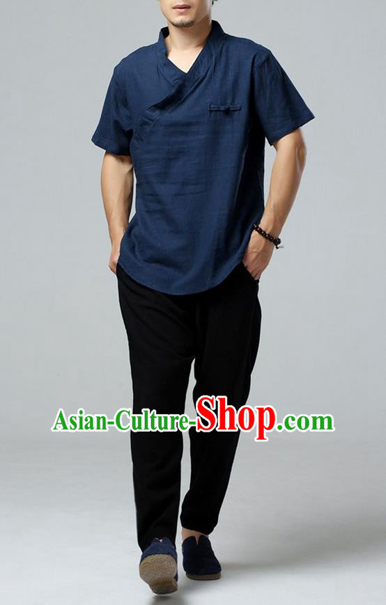 Traditional Top Chinese National Tang Suits Linen Frock Costume, Martial Arts Kung Fu Short Sleeve Navy T-Shirt, Kung fu Upper Outer Garment, Chinese Taichi Shirts Wushu Clothing for Men