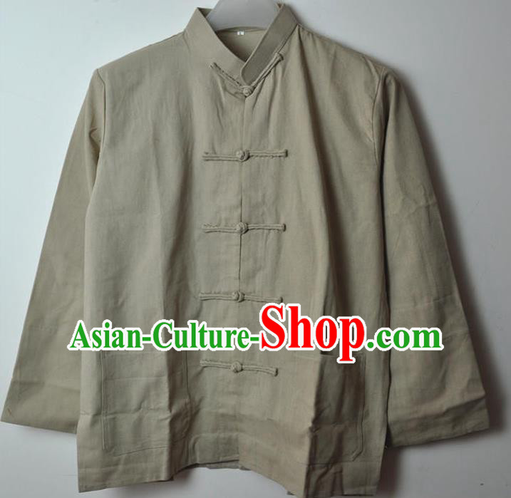 Traditional Top Chinese National Tang Suits Linen Costume, Martial Arts Kung Fu Front Opening Grey Coats, Kung fu Plate Buttons Jacket, Chinese Taichi Short Coats Wushu Clothing for Men