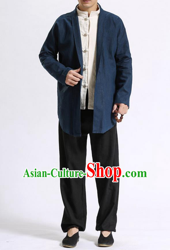 Traditional Top Chinese National Tang Suits Linen Costume, Martial Arts Kung Fu Navy Cardigan, Chinese Kung fu Thin Upper Outer Garment Overcoats, Chinese Taichi Thin Coats Wushu Clothing for Men