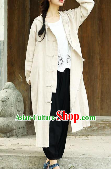 Traditional Top Chinese National Tang Suits Linen Costume, Martial Arts Kung Fu Front Opening Beige Hooded Coats, Chinese Kung fu Plate Buttons Dust Coats, Chinese Taichi Long Coats Wushu Clothing for Women