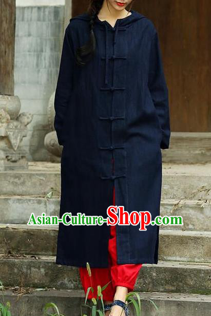 Traditional Top Chinese National Tang Suits Linen Costume, Martial Arts Kung Fu Front Opening Navy Hooded Coats, Chinese Kung fu Plate Buttons Dust Coats, Chinese Taichi Long Coats Wushu Clothing for Women