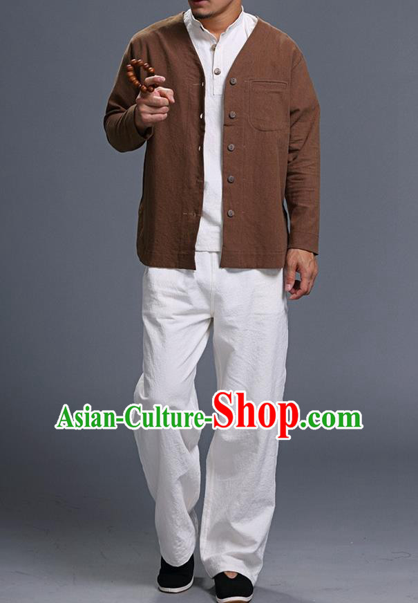 Traditional Top Chinese National Tang Suits Linen Costume, Martial Arts Kung Fu Long Sleeve Coffee Overcoat, Chinese Kung fu Upper Outer Garment Jacket, Chinese Taichi Thin Short Cardigan Wushu Clothing for Men