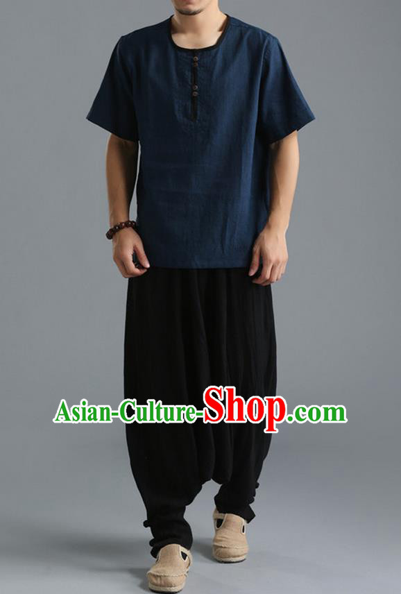 Traditional Top Chinese National Tang Suits Linen Costume, Martial Arts Kung Fu Short Sleeve Navy T-Shirt, Chinese Kung fu Upper Outer Garment Blouse, Chinese Taichi Thin Shirts Wushu Clothing for Men