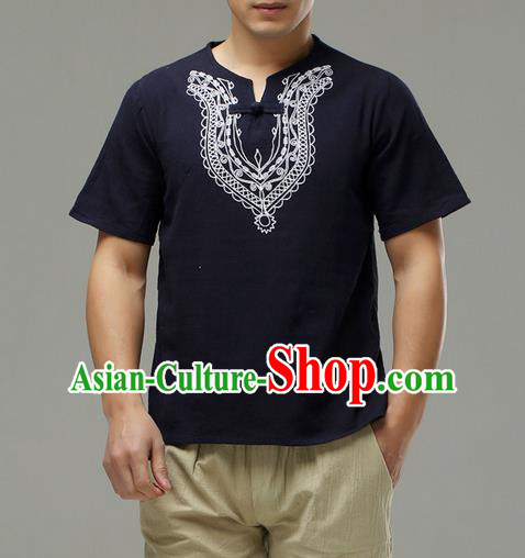 Traditional Top Chinese National Tang Suits Linen Costume, Martial Arts Kung Fu Embroidery Short Sleeve Navy T-Shirt, Chinese Kung fu Plate Buttons Upper Outer Garment Blouse, Chinese Taichi Thin Shirts Wushu Clothing for Men