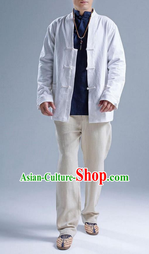 Traditional Top Chinese National Tang Suits Linen Front Opening Costume, Martial Arts Kung Fu White Coats, Chinese Kung fu Plate Buttons Jacket, Chinese Taichi Short Coats Wushu Cardigan Clothing for Men