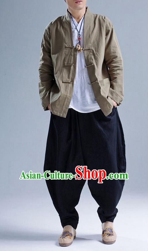 Traditional Top Chinese National Tang Suits Linen Front Opening Costume, Martial Arts Kung Fu Green Coats, Chinese Kung fu Plate Buttons Jacket, Chinese Taichi Short Coats Wushu Cardigan Clothing for Men