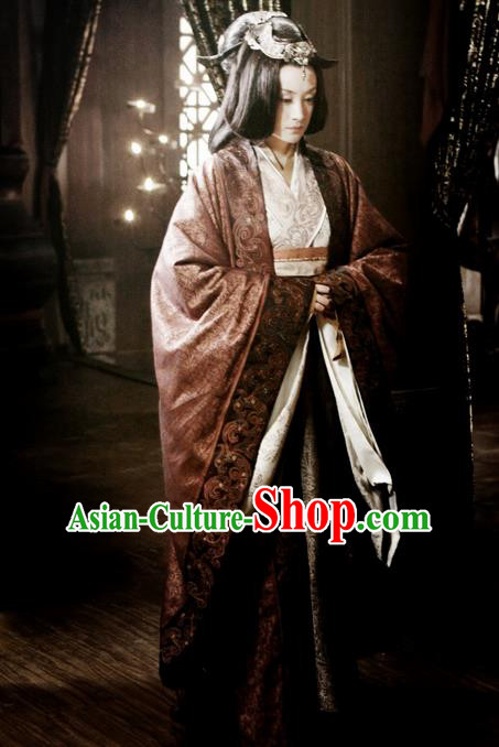 Traditional Ancient Chinese Imperial Empress Costume, Elegant Hanfu Dress Chinese Qin Dynasty Imperial Queen Elegant Tailing Embroidered Clothing for Women