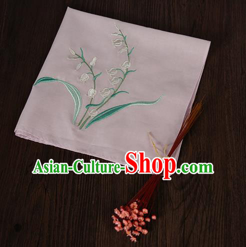 Traditional Ancient Chinese Palace Embroidered Keiskei Pink Handkerchief for Women