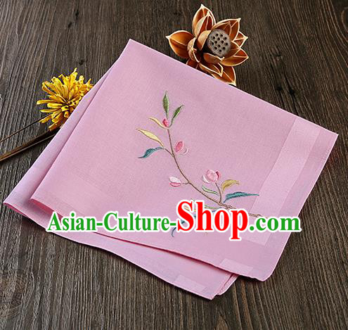 Traditional Ancient Chinese Palace Embroidered Peach Blossom Pink Handkerchief for Women