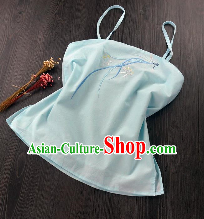 Traditional Ancient Chinese Costume Sun-Top, Elegant Hanfu Boob Tube Top Clothing Chinese Han Dynasty Embroidery Chlorophytum comosum Light Blue Condole Belt for Women
