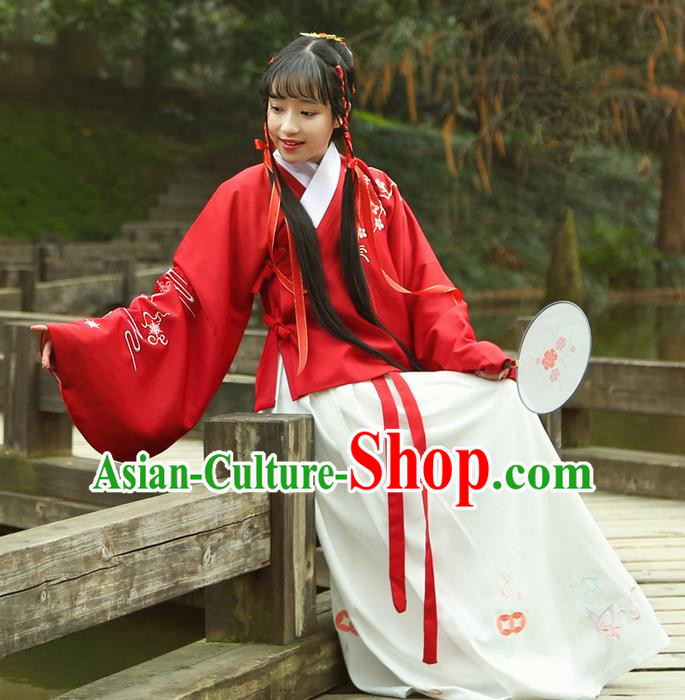 Traditional Ancient Chinese Female Costume Dress, Elegant Hanfu Clothing Chinese Ming Dynasty Palace Lady Embroidered Plum Blossom Skirt for Women