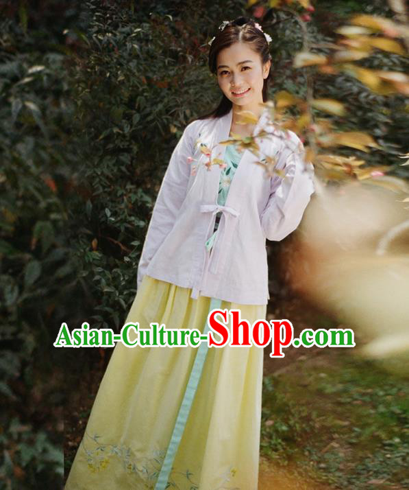Traditional Ancient Chinese Female Costume Blouse and Dress Complete Set, Elegant Hanfu Front Opening Clothing Chinese Ming Dynasty Palace Lady Embroidered Gardenia Clothing for Women