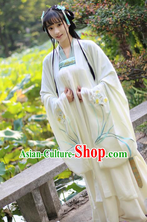 Traditional Ancient Chinese Female Costume Cardigan, Elegant Hanfu Clothing Chinese Ming Dynasty Palace Lady Embroidered Daffodil Wide Sleeve Cappa Clothing for Women