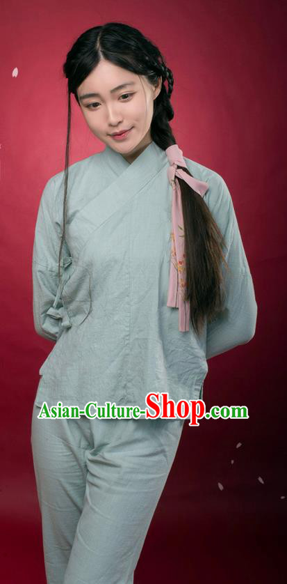 Traditional Ancient Chinese Female Costume Blouse and Pants Underpants Complete Set, Elegant Hanfu Underpants Clothing Chinese Ming Dynasty Palace Lady Clothing for Women