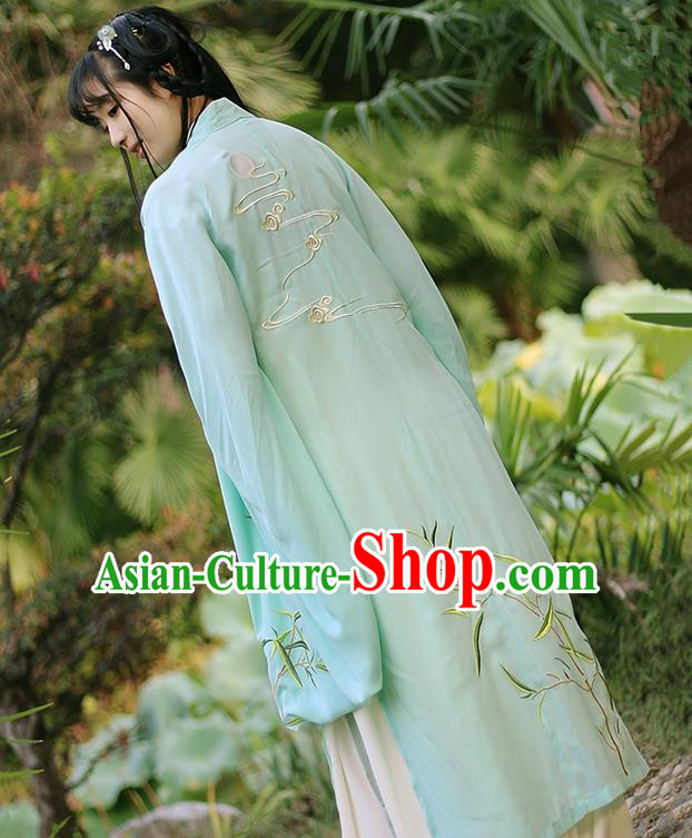 Traditional Ancient Chinese Female Costume Cardigan, Elegant Hanfu Clothing Chinese Ming Dynasty Palace Lady Embroidered Bamboo Wide Sleeve Cappa Clothing for Women