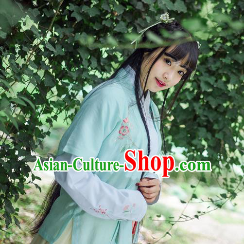 Traditional Ancient Chinese Female Costume Cardigan, Elegant Hanfu Coat Chinese Ming Dynasty Palace Lady Embroidered Hibiscus Rosa-sinensis Clothing for Women