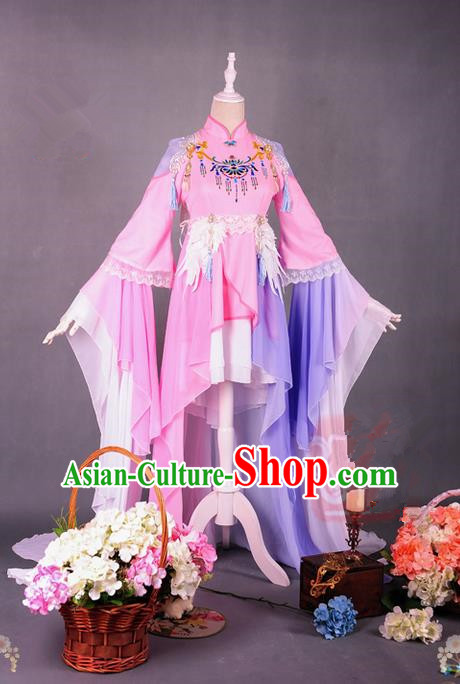 Traditional Asian Chinese Princess Costume, Elegant Hanfu Dance Inseparable King Bird Clothing, Chinese Imperial Princess Tailing Embroidered Clothing, Chinese Cosplay Fairy Princess Empress Queen Cosplay Costumes for Women