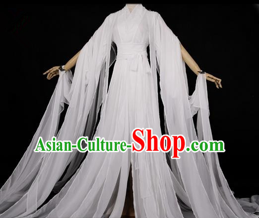Traditional Asian Chinese Ancient Palace Princess Costume, Elegant Hanfu White Dress, Chinese Imperial Princess Tailing Clothing, Chinese Cosplay Fairy Princess Empress Queen Cosplay Costumes for Women