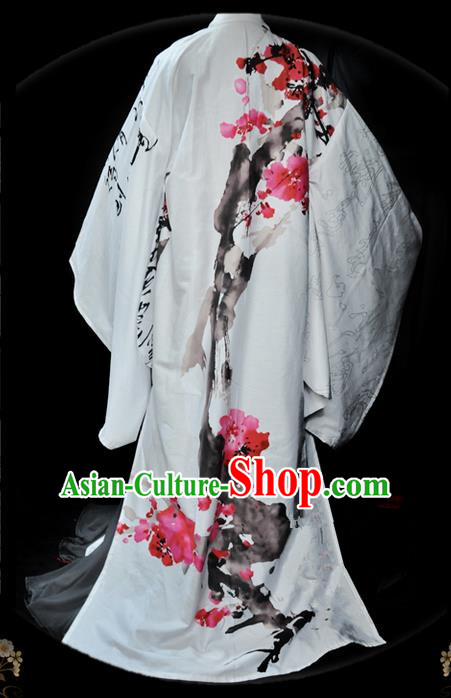 Traditional Asian Chinese Nobility Childe Costume, Elegant Hanfu Ink Painting Flowers Dress, Chinese Imperial Prince Cosplay Costumes for Men