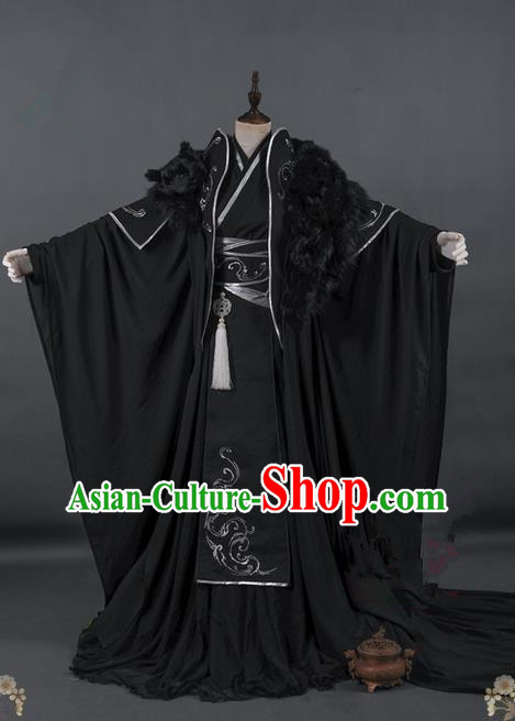 Traditional Asian Chinese Ancient Costume, Elegant Hanfu Dress, Chinese Imperial Prince Tailing Embroidered Totem Clothing, Chinese Cosplay Prince Costumes for Men