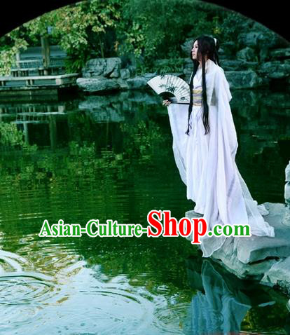 Traditional Asian Chinese Ancient Nobility Childe Costume, Elegant Hanfu White Dress, Chinese Imperial Prince Clothing, Chinese Cosplay Swordsman Costumes for Men