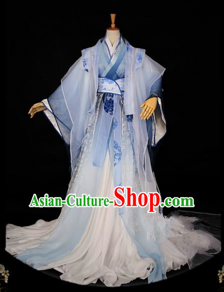 Traditional Asian Chinese Ancient Nobility Childe Costume, Elegant Hanfu Emperor White Dress, Chinese Imperial Prince Clothing, Chinese Cosplay Swordsman Costumes for Men