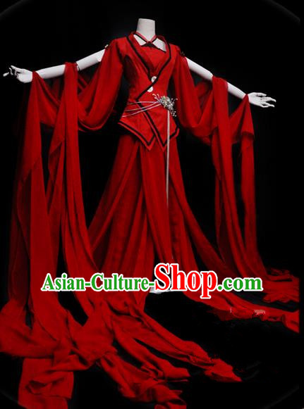 Traditional Asian Chinese Ancient Palace Princess Costume, Elegant Hanfu Red Water Sleeve Dance Dress, Chinese Imperial Princess Tailing Clothing, Chinese Cosplay Fairy Princess Empress Queen Cosplay Costumes for Women