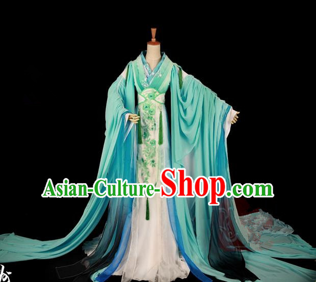 Traditional Asian Chinese Ancient Palace Princess Costume, Elegant Hanfu Wide Sleeve Light Blue Dress, Chinese Imperial Princess Tailing Clothing, Chinese Fairy Princess Empress Queen Cosplay Costumes for Women
