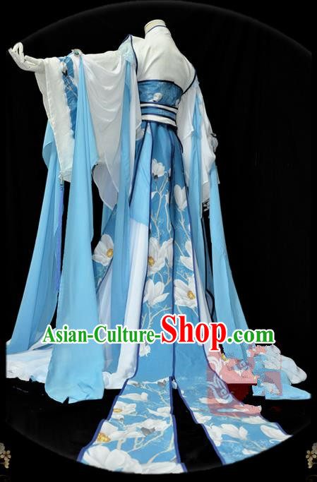 Traditional Asian Chinese Ancient Palace Princess Costume, Elegant Hanfu Blue Dress, Chinese Imperial Princess Tailing Embroidered Clothing, Chinese Cosplay Fairy Princess Empress Queen Cosplay Costumes for Women