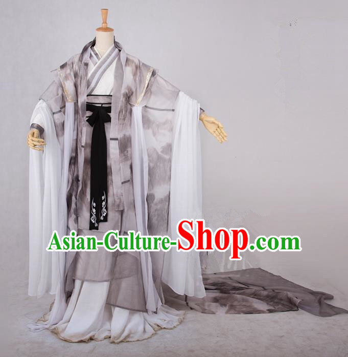Traditional Asian Chinese Ancient Nobility Childe Costume, Elegant Hanfu Ink Painting Dress, Chinese Imperial Prince Tailing Clothing, Chinese Cosplay Swordsman Costumes for Men
