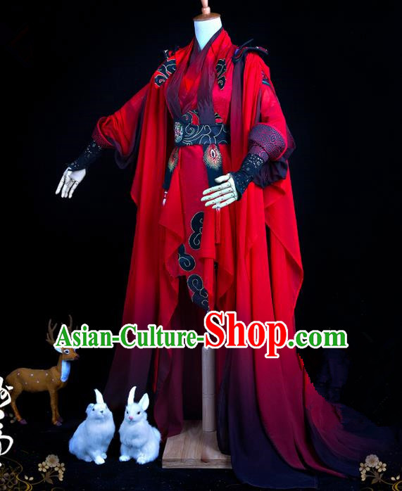 Traditional Ancient Chinese Swordsman Costume, Elegant Hanfu Cosplay Fairy Red Wedding Dress Chinese Han Dynasty Imperial Empress Embroidered Flowers Tailing Clothing for Women