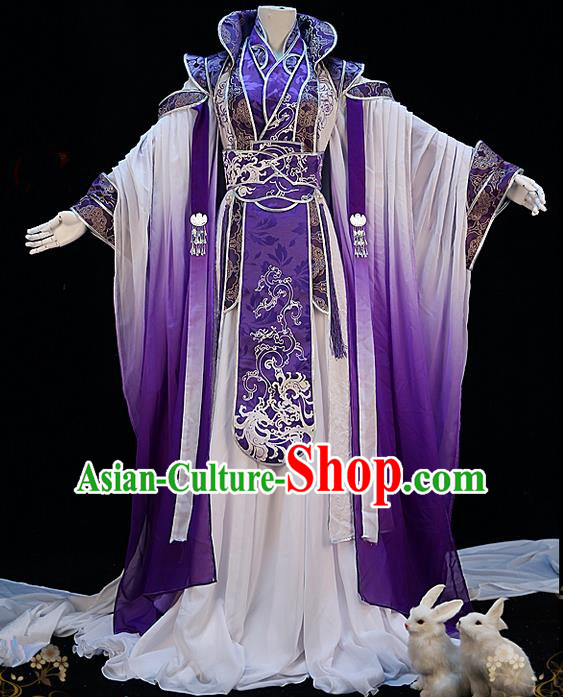 Traditional Ancient Chinese Palace Queen Costume, Elegant Hanfu Cosplay Fairy Purple Wide Sleeve Dress Chinese Han Dynasty Imperial Empress Embroidery Tailing Clothing for Women