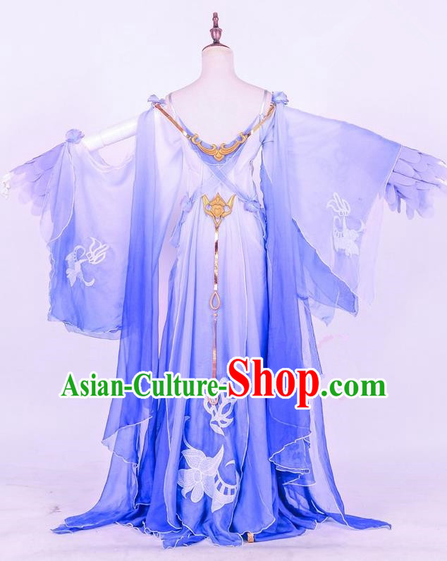 Traditional Ancient Chinese Imperial Consort Costume, Elegant Hanfu Cosplay Fairy Irregular Wide Sleeve Dress, Chinese Tang Dynasty Imperial Empress Embroidery Tailing Clothing for Women