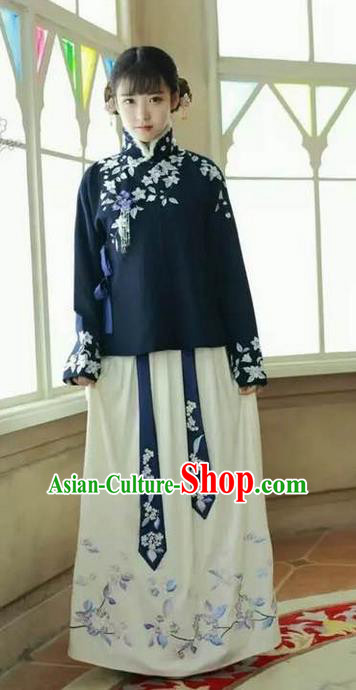 Traditional Ancient Chinese Female Costume Blouse and Skirt Complete Set, Elegant Hanfu Clothing Chinese Ming Dynasty Palace Lady Embroidered Clothing for Women