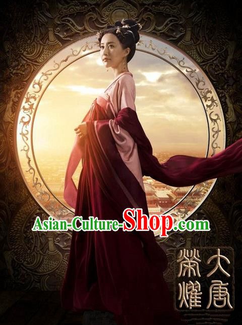 Traditional Ancient Chinese Imperial Consort Costume, Elegant Hanfu Palace Lady Dress, Chinese Tang Dynasty Imperial Empress Tailing Embroidered Clothing for Women