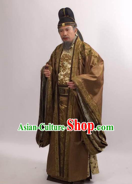 Traditional Ancient Chinese Imperial Emperor Costume and Hat Complete Set, Elegant Hanfu Palace King Robe, Chinese Tang Dynasty Majesty Embroidered Dragon Clothing for Men
