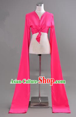 Traditional Chinese Long Sleeve Water Sleeve Dance Suit China Folk Dance Koshibo Long Rose Red Ribbon for Women