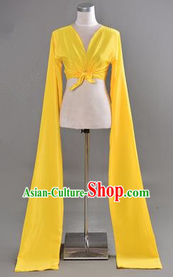 Traditional Chinese Long Sleeve Water Sleeve Dance Suit China Folk Dance Koshibo Long Yellow Ribbon for Women