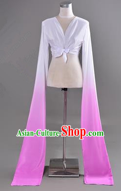 Traditional Chinese Long Sleeve Water Sleeve Dance Suit China Folk Dance Koshibo Long White and Lilac Gradient Ribbon for Women
