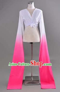 Traditional Chinese Long Sleeve Water Sleeve Dance Suit China Folk Dance Koshibo Long White and Pink Gradient Ribbon for Women