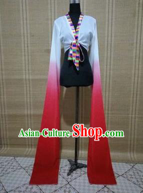 Traditional Chinese Long Sleeve Tibetan Nationality Water Sleeve Dance Suit China Folk Dance Koshibo Long White and Red Gradient Ribbon for Women