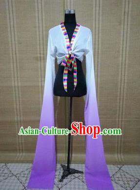 Traditional Chinese Long Sleeve Tibetan Nationality Water Sleeve Dance Suit China Folk Dance Koshibo Long White and Lilac Gradient Ribbon for Women