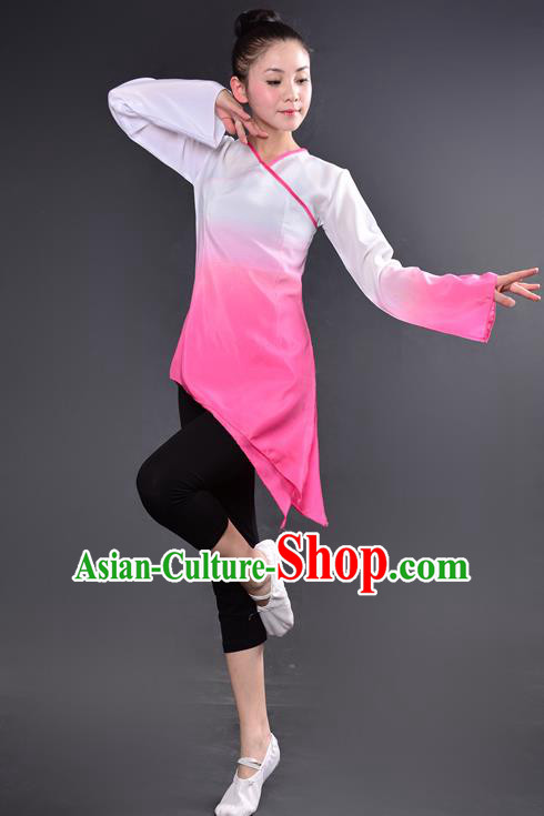Traditional Chinese Yangge Fan Dancing Costume, China Folk Dance Yangko Dance Pink Dress For Women