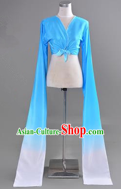 Traditional Chinese Long Sleeve Water Sleeve Dance Suit China Folk Dance Koshibo Long White and Blue Gradient Ribbon for Women