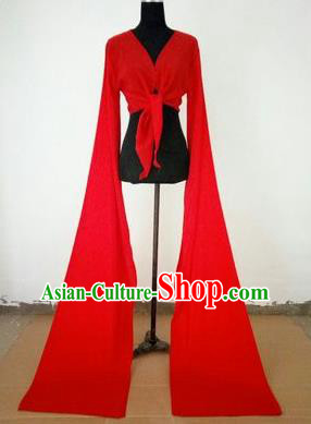 Traditional Chinese Long Sleeve Water Sleeve Dance Suit China Folk Dance Koshibo Long Red Gradient Ribbon for Women