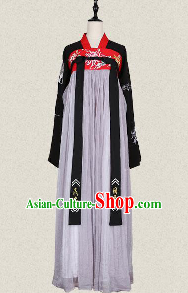 Traditional Ancient Chinese Female Costume Blouse and Dress Complete Set, Elegant Hanfu Clothing Chinese Tang Dynasty Palace Lady Embroidered Clothing for Women
